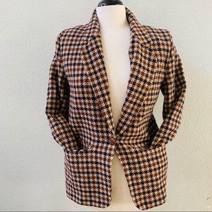 PENDELTON vintage tan houndstooth wool blazer 12